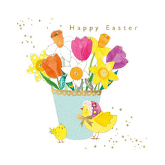 Happy Easter Card with Flowers & Chicks