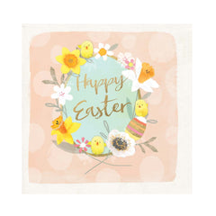 Happy Easter Card with Floral Wreath