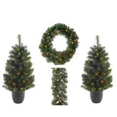Imperial Pine Pre-lit Set Of 4 (COLLECTION ONLY)