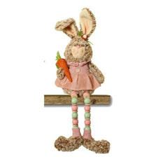 Enchante Easter Bunny Sitting with Wooden Hanging Legs - Pink