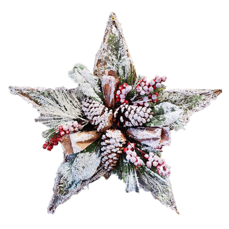 Christmas Snow Effect Berry/Cone Star Decoration (Collection Only)
