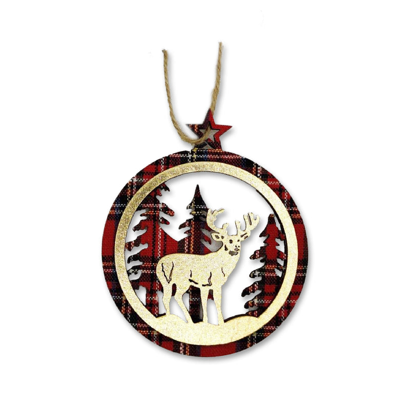 Red Tartan Reindeer Decoration