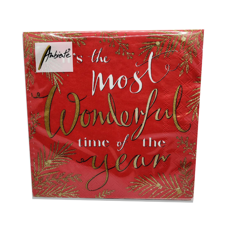 Ambiente Wonderful Time Red Lunch Napkins