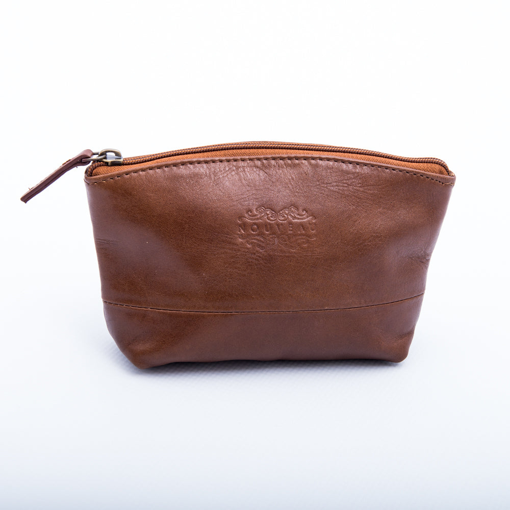 Leather Cosmetic Bag: Vacheta Tan