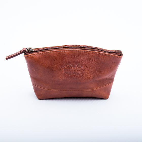 Leather Cosmetic Bag: Burnish Brown