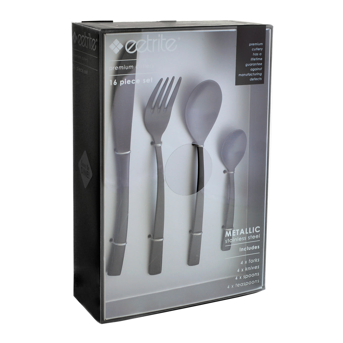 16pc Metallic Cutlery Set: Matte Black