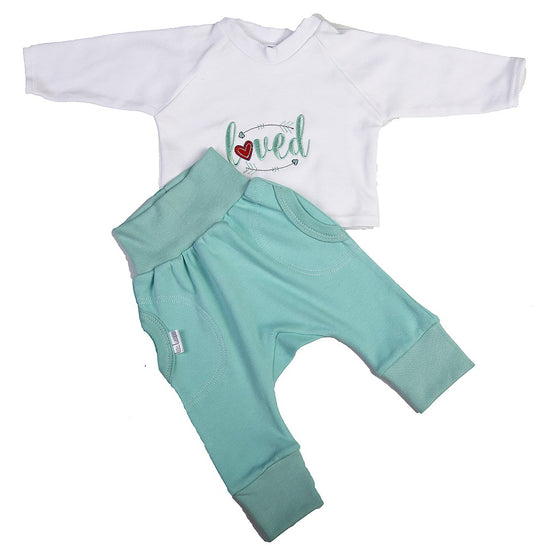 Aqua Pants and Embroided Top Set