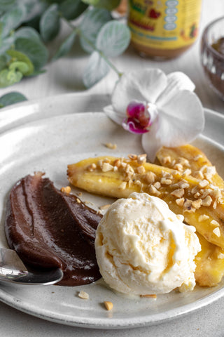 BANANA ASSADA COM GANACHE DE CHOCOLATE NUTTY FRIENDS