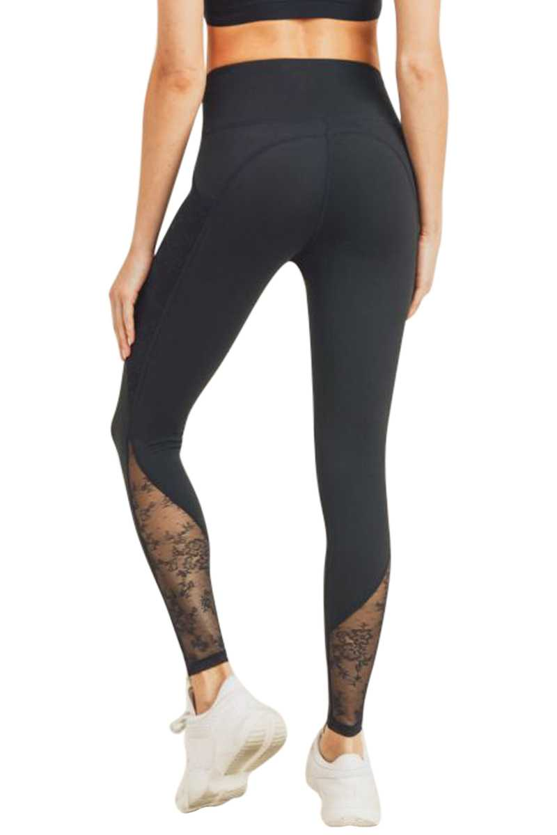 FLORAL LACE MESH SPLICE HIGHWAIST LEGGINGS
