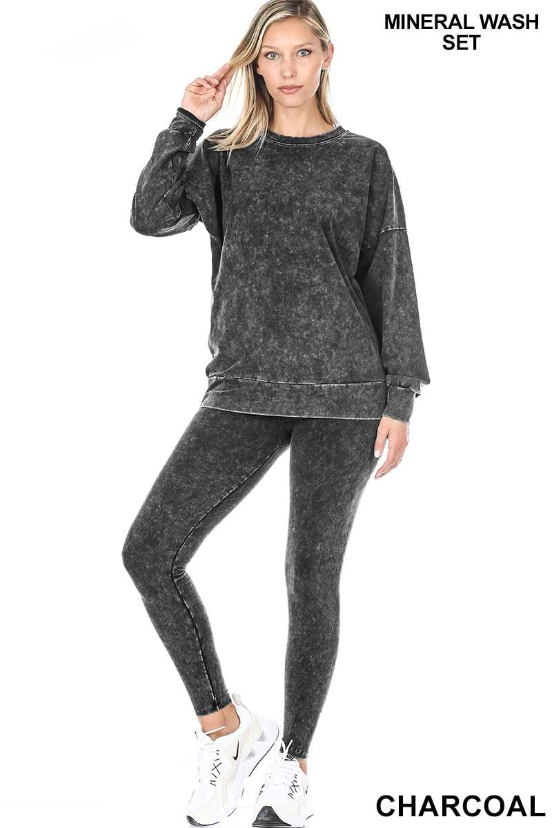Mineral Washed Round Neck Leggings