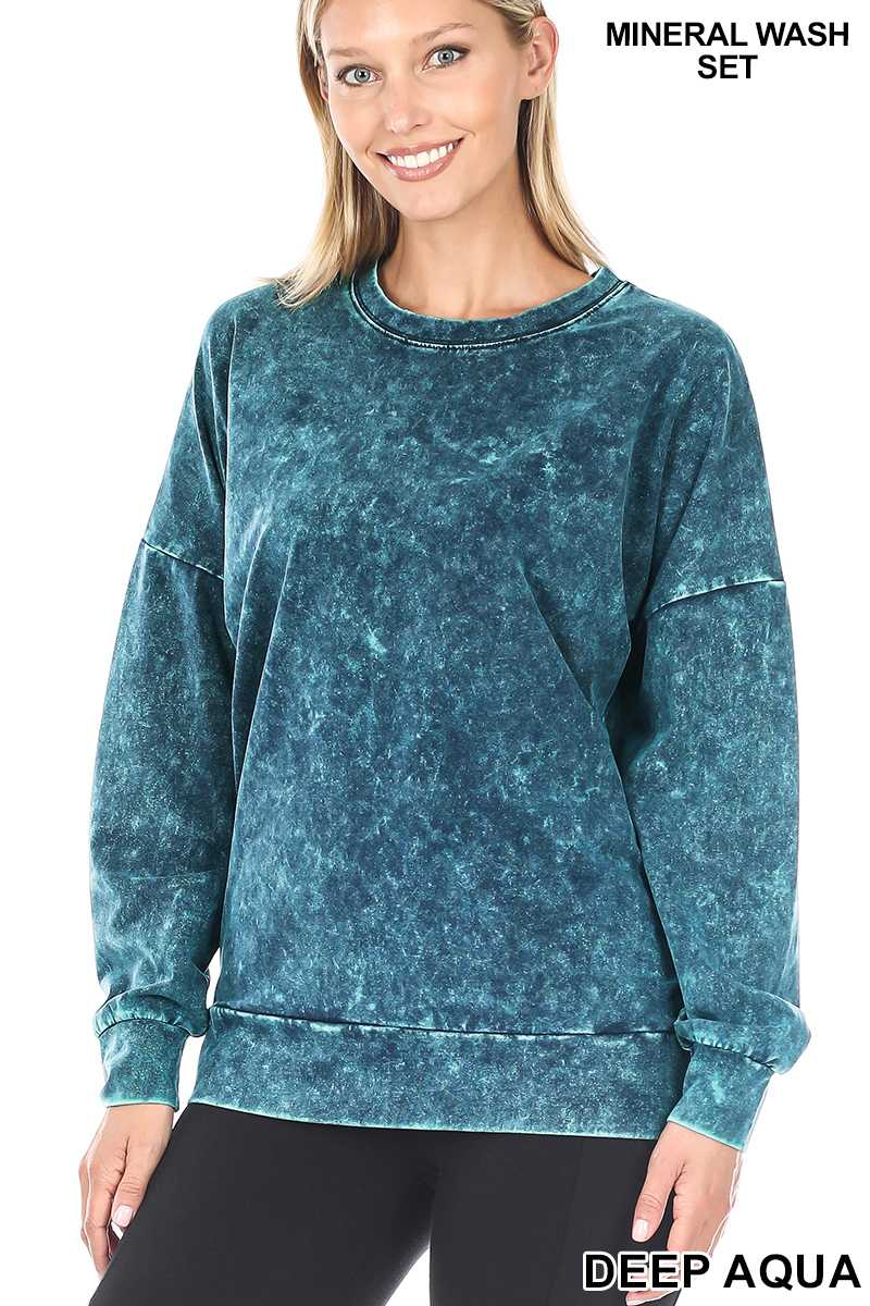 Mineral Washed Round Neck Pullover