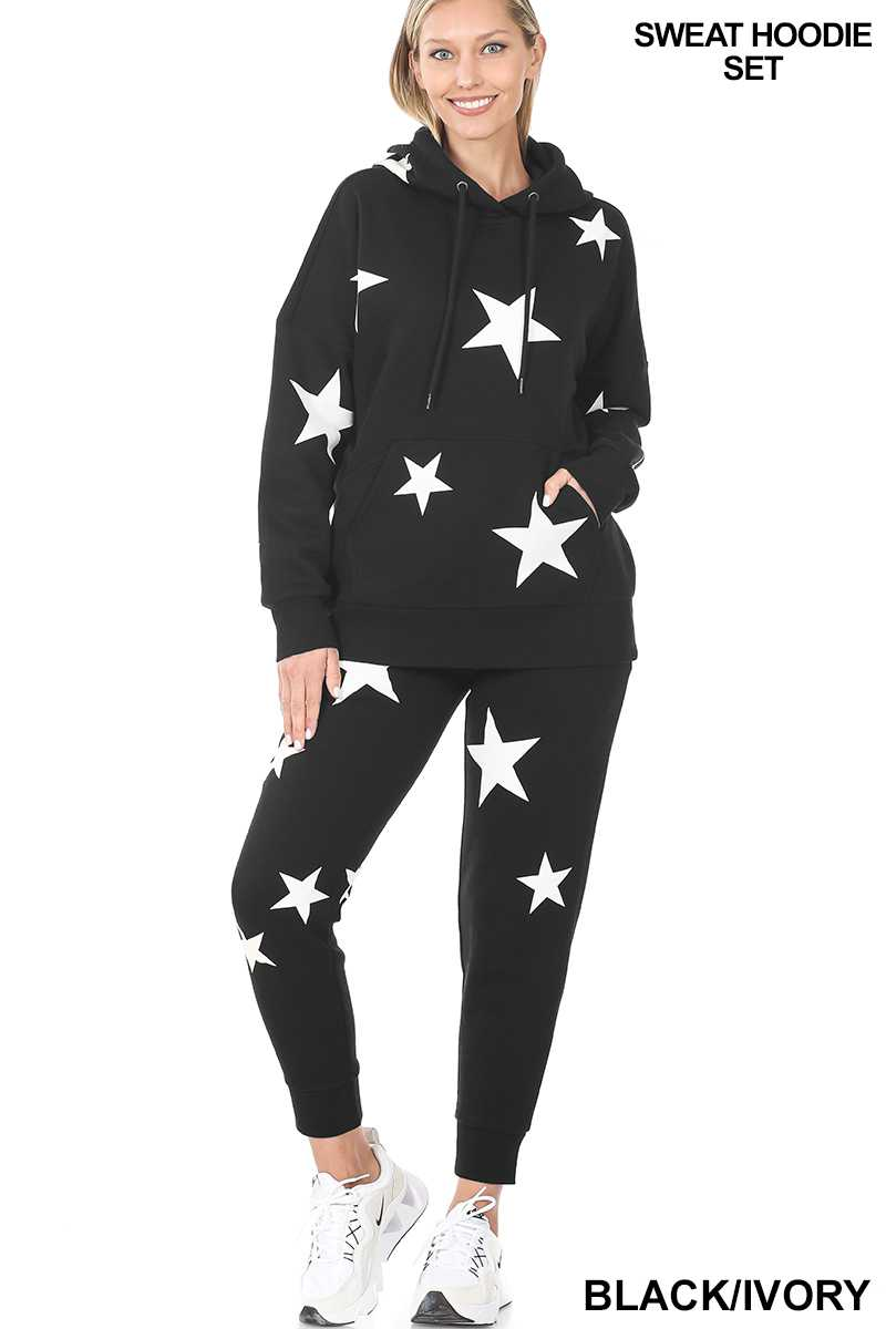 Star Printed Hoodie and Sweatpants SET