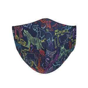 Kids face mask in Neon Safari design, made in NZ by Parisian with Liberty cotton and merino for added comfort