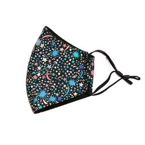 Kids face mask in Fizz Pop design, made in NZ by Parisian with Liberty cotton and merino for added comfort