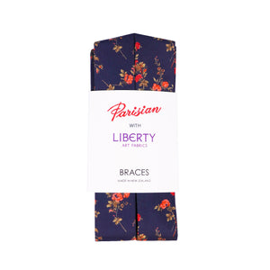 Match a bow tie to these liberty cotton braces made in NZ by Parisian
