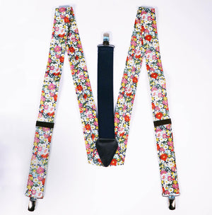full view of Parisian braces with Liberty floral cotton.