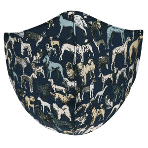 The dog lover face mask, made in NZ by Parisian with Liberty cotton and a merino lining for extra comfort.