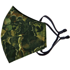 camo style fashion face mask in Liberty cotton made in New Zealand by Parisian and lined with merino for added comfort