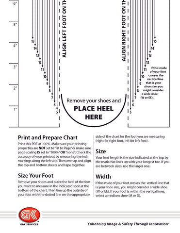Boot sizing chart that measures both foot length and width (Page 2)