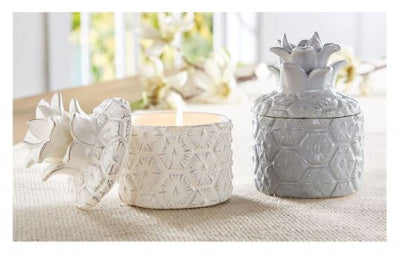 Gray Pineapple Ceramic Candle