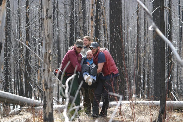 Wilderness medical evacuation in forest