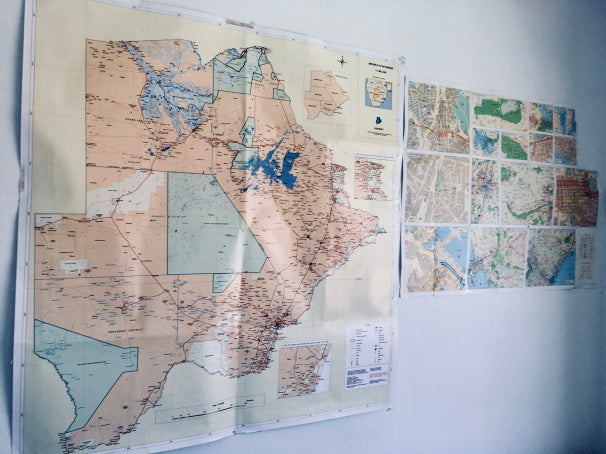 Maps on a wall