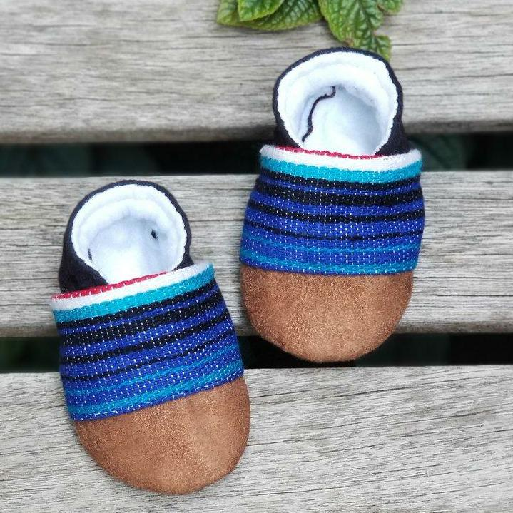 Mexican Sarape Booties in Blue
