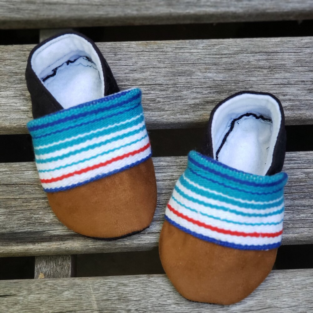 Mexican Sarape Booties in Light Blue