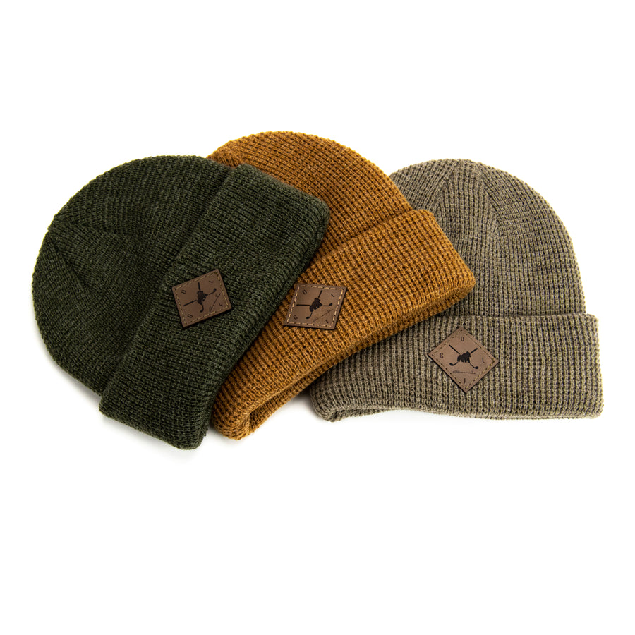 knitted winter hat diamond patch