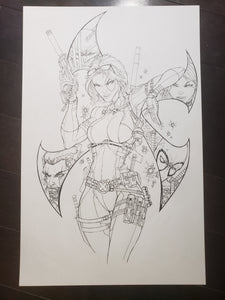 PIN-UP / COVER X-FORCE / DEADPOOL / WOLVERINE / DOMINO - JAMIE TYNDALL INK & PENCIL
