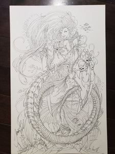 PIN-UP / COVER - JAMIE TYNDALL - LADY DEATH AS MERMAID