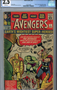 Avengers #1 (1963) CGC 2.5 White Pages