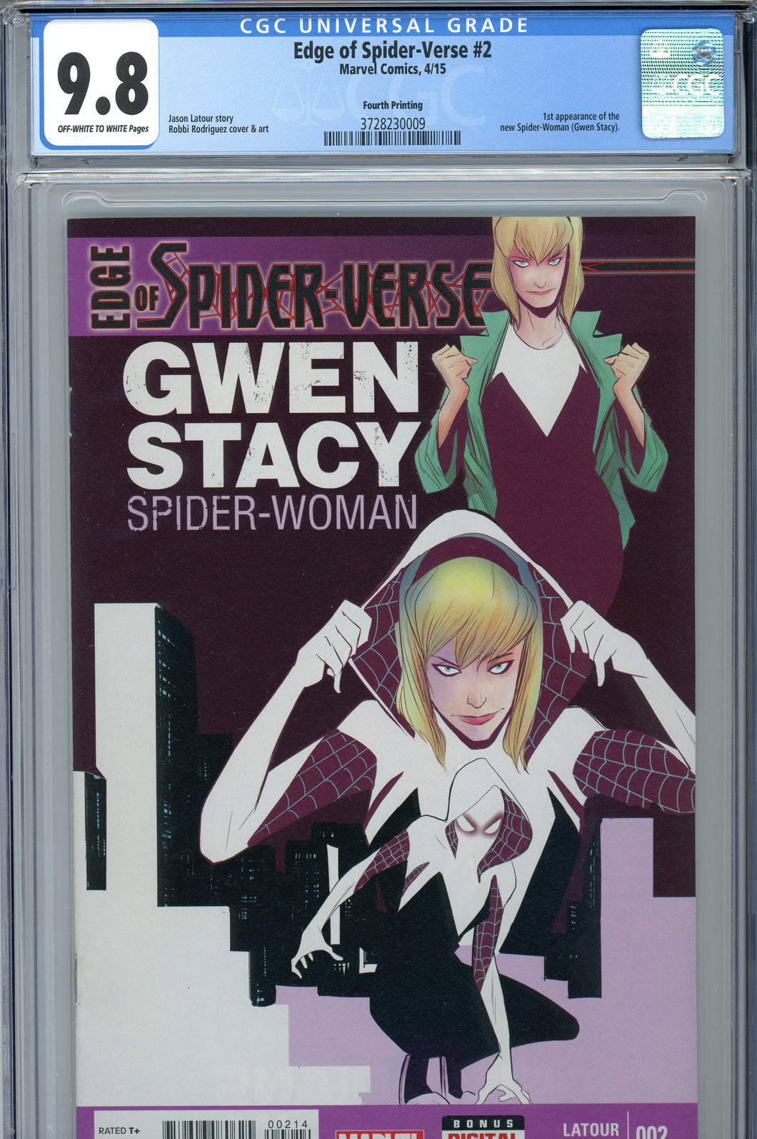 Edge of Spider-Verse #2 4th Print CGC 9.8 1st Spider-Gwen