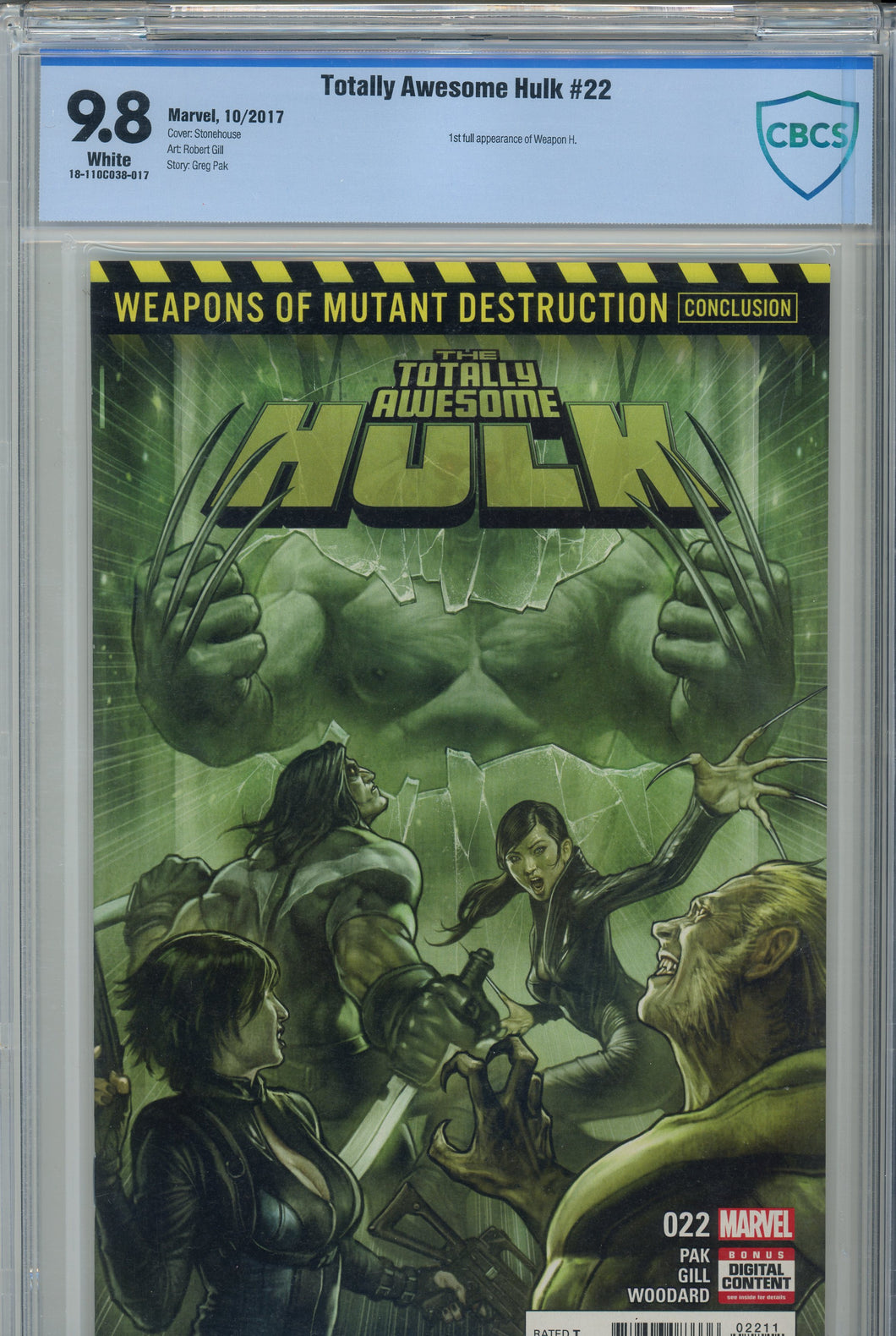 Totally Awesome Hulk #22 CBCS 9.8 1st Appearance of Weapon H