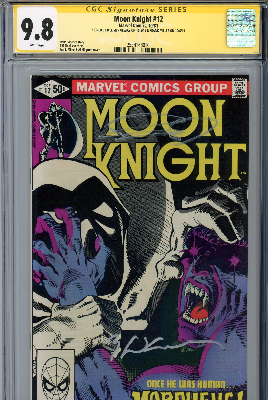 Moon Knight #12 CGC 9.8 SS Signed Miller & Sienkiewicz