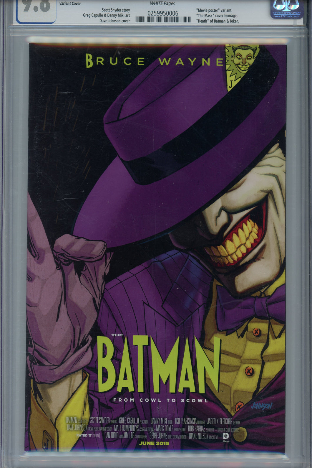 Batman #40 New 52 CGC 9.8 Movie Poster Variant