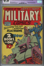 Load image into Gallery viewer, Military Comics #1 CGC 6.0 Restored 1st Appearance of Blackhawk