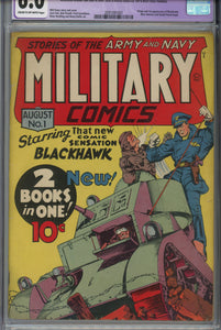 Military Comics #1 CGC 6.0 Restored 1st Appearance of Blackhawk