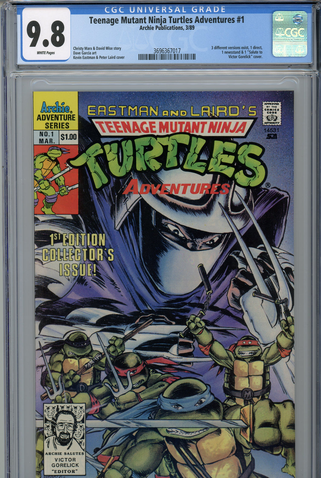 Teenage Mutants Ninja Turtles Adventures #1 CGC 9.8 Gorelick Cover
