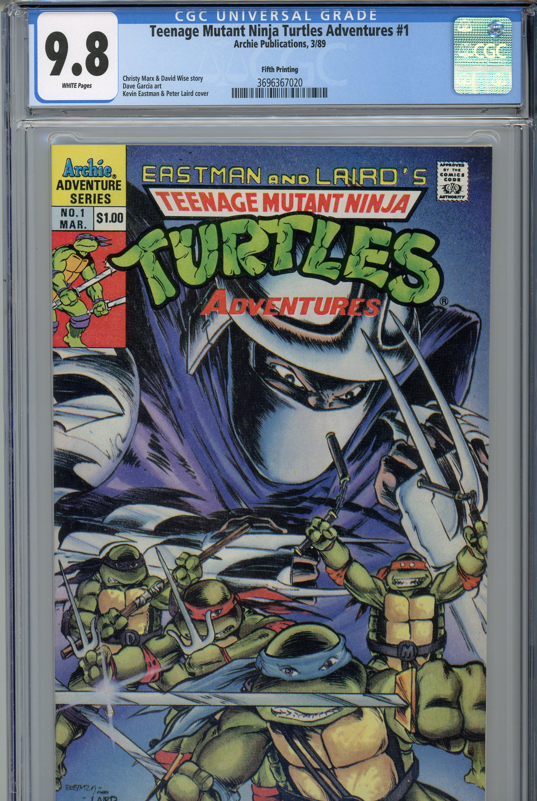 Teenage Mutants Ninja Turtles Adventures #1 CGC 9.8 5th Print