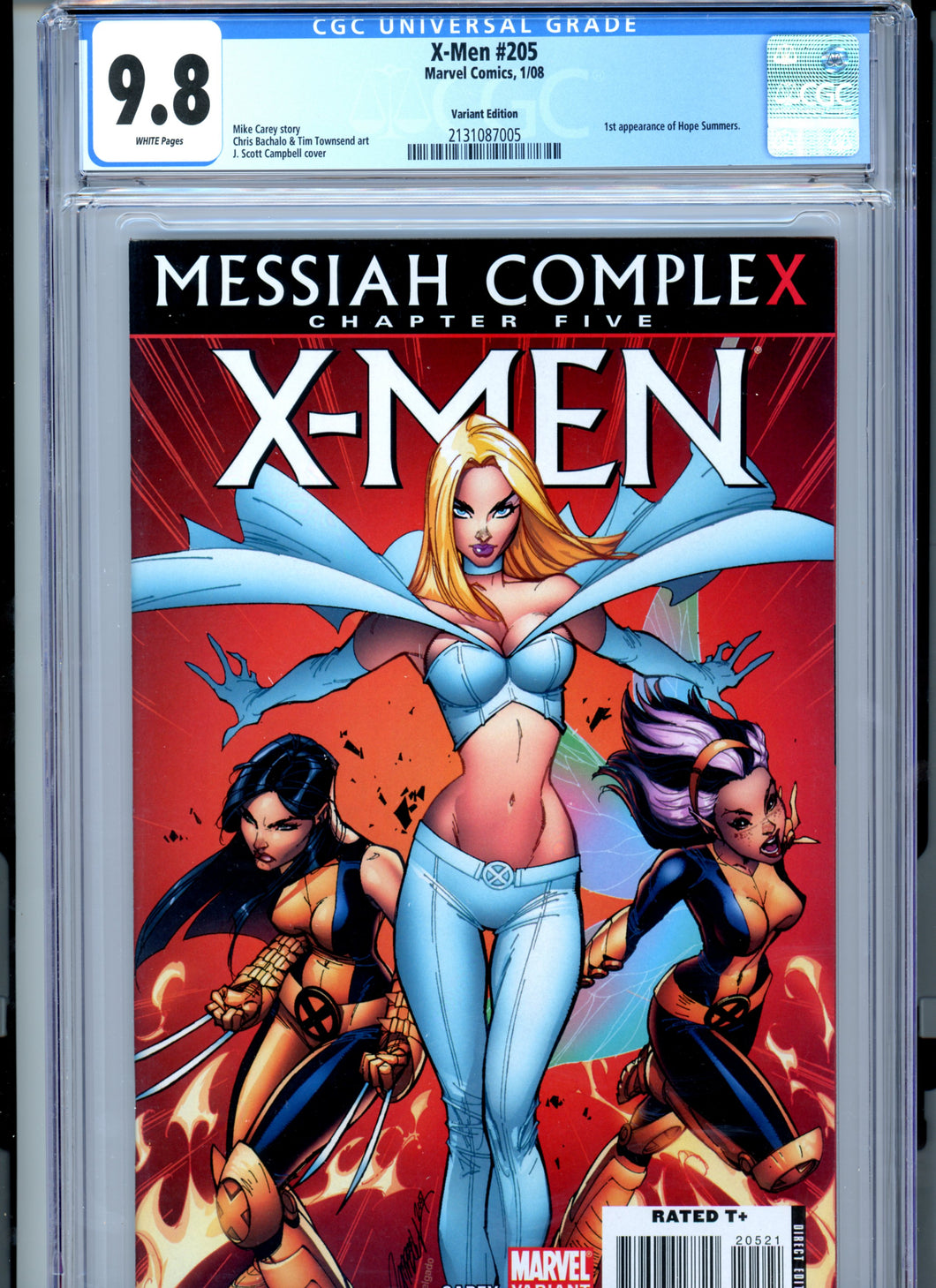 X-Men #205 - First HOPE - J Scott Campbell cover CGC 9.8 White Page