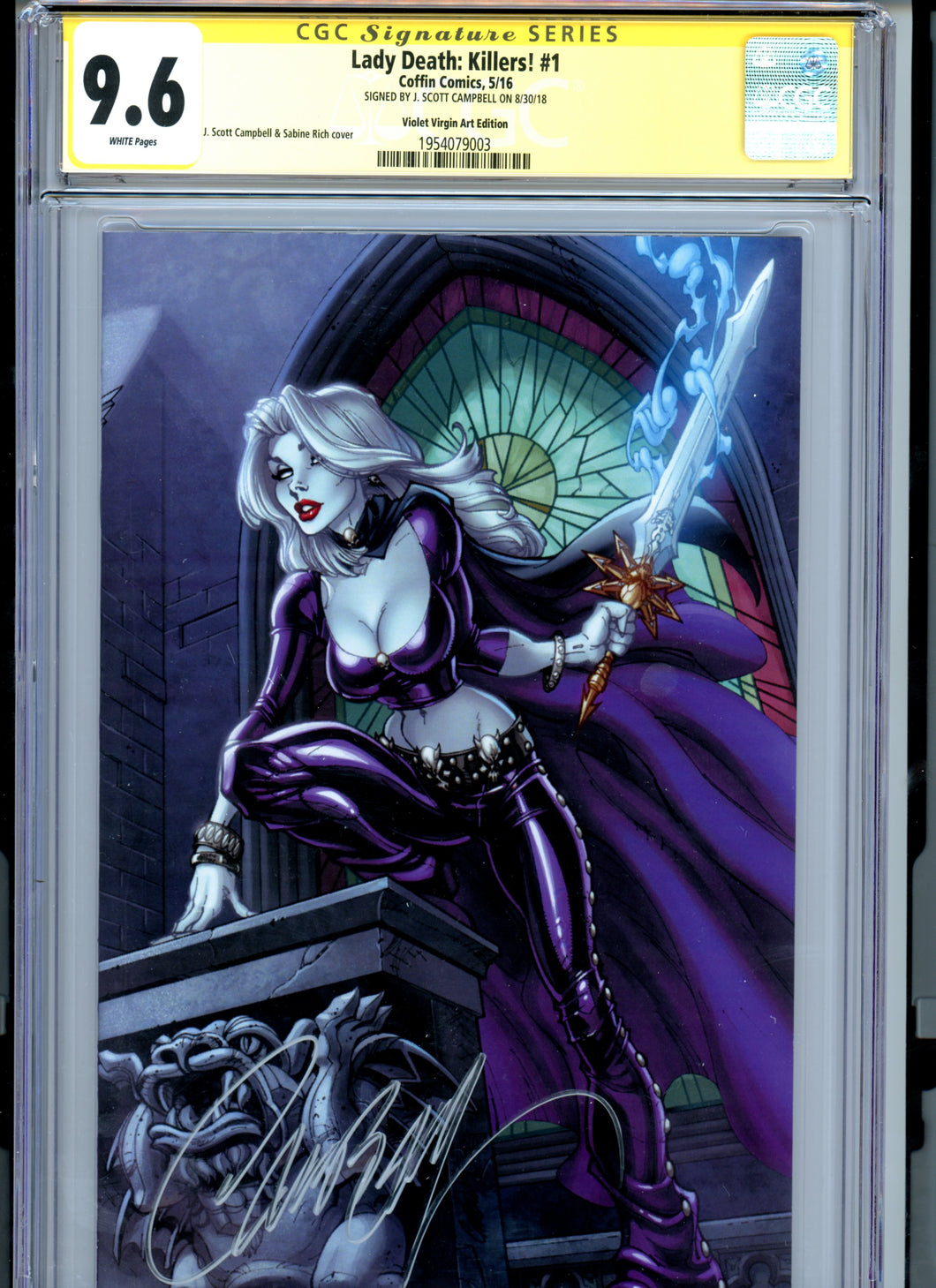 Lady Death:  Killers! #1 - J Scott Campbell Signed - LIMITED TO 25 Violet Virgin CGC 9.6