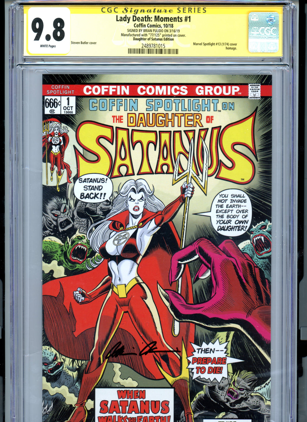 Lady Death:  Moments #1 - Signed by Brian Pulido - Limited to 125 - Daughter of Satanus Edition