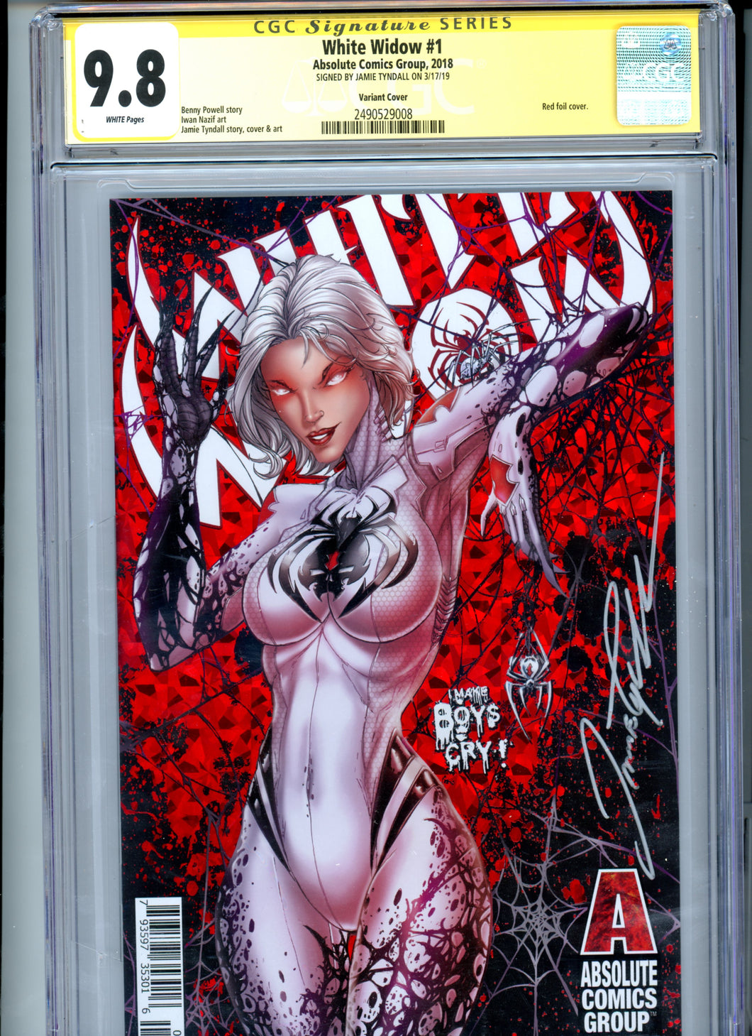 White Widow #1 - COVER B - Signed by Jamie Tyndall - CGC 9.8