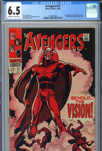 Load image into Gallery viewer, Avengers #57 CGC 6.5 1st Vision