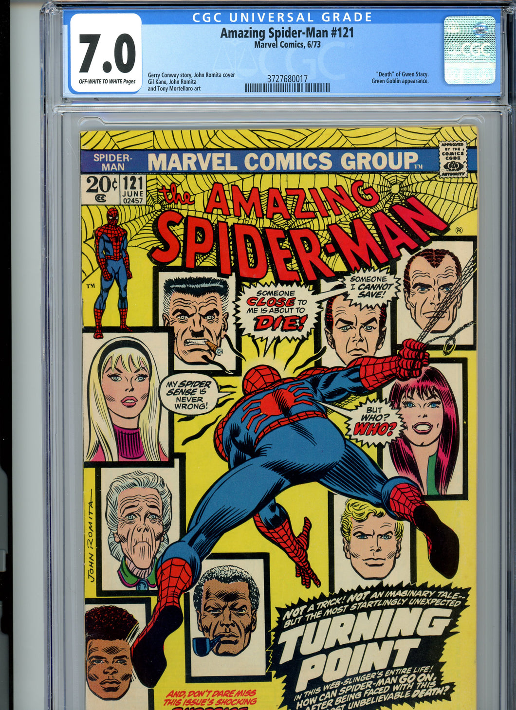 Amazing Spider-Man #121 CGC 7.0 Death of Gwen Stacy