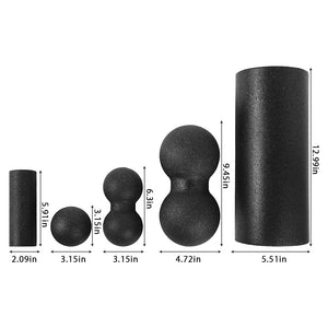 Foam Roller & Massage Ball Set For Therapy, Exercise, Muscle Relief and Yoga - 5 Pcs Black