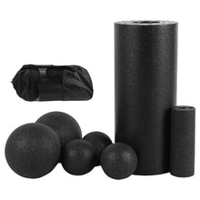 Load image into Gallery viewer, Foam Roller & Massage Ball Set For Therapy, Exercise, Muscle Relief and Yoga - 5 Pcs Black