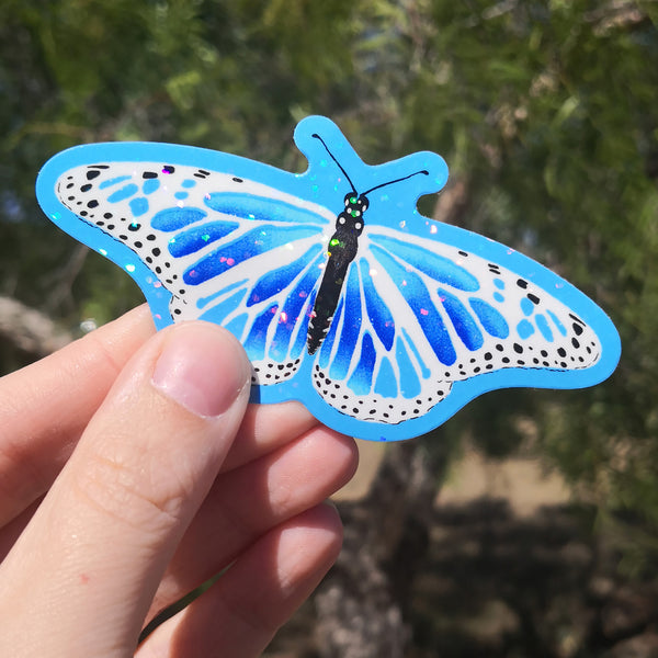 Magic Butterfly Sticker – Blue Glitter