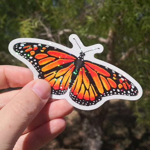 Magic Monarch Butterfly Sticker – Red Glitter